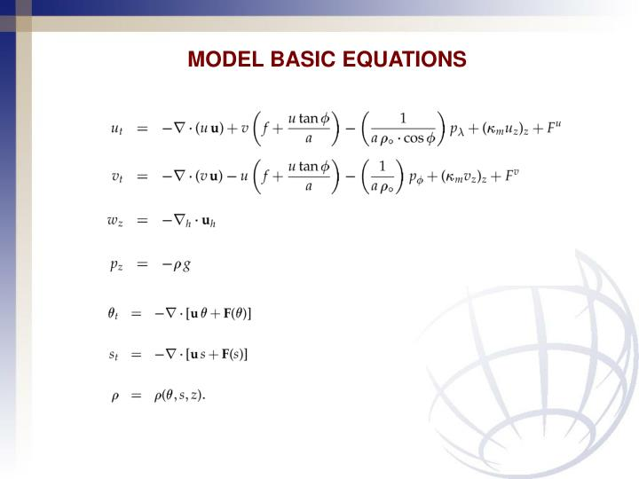MODEL BASIC EQUATIONS