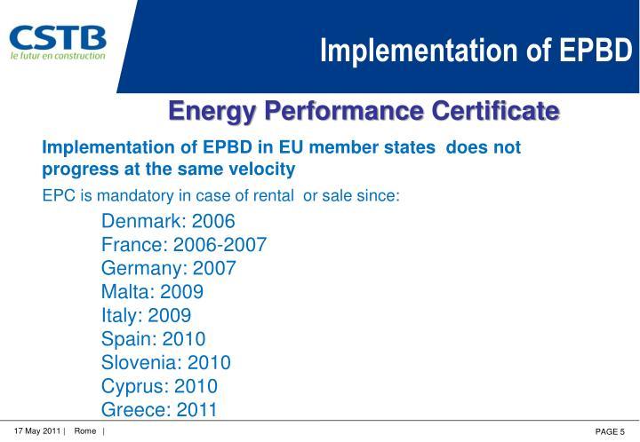 Implementation of EPBD