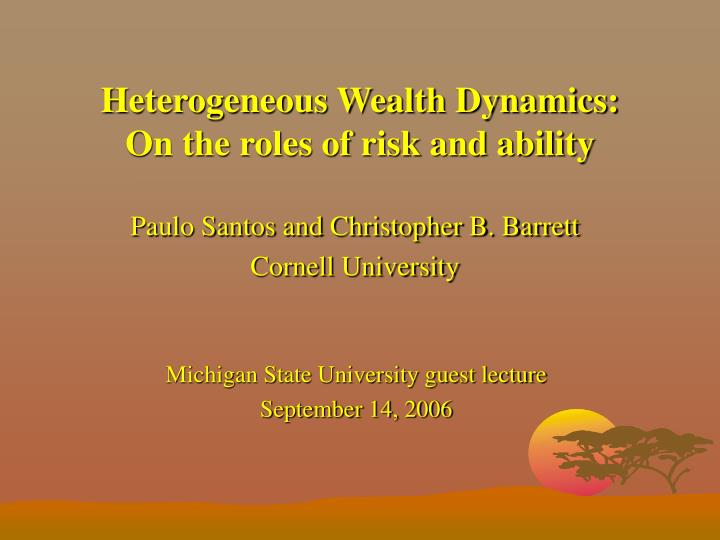 heterogeneous wealth dynamics on the roles of risk and ability