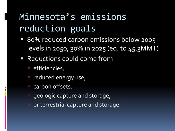 Minnesota s emissions reduction goals