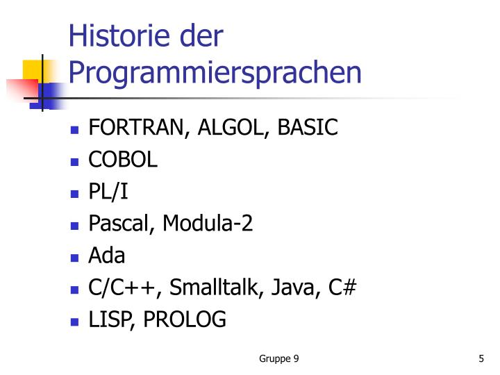 Historie der Programmiersprachen