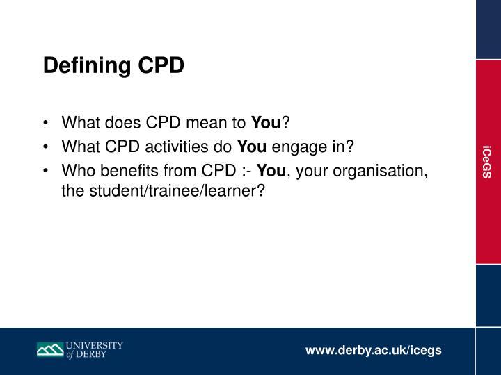 Defining cpd