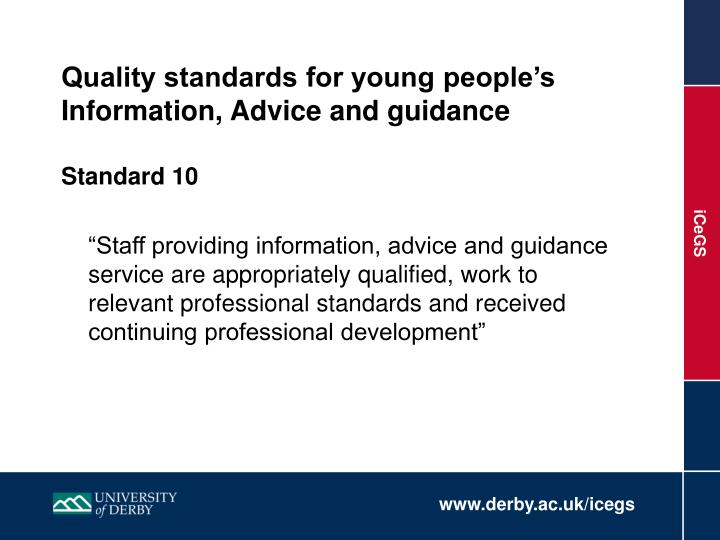 Quality standards for young people's Information, Advice and guidance