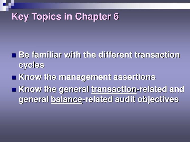 Key topics in chapter 61