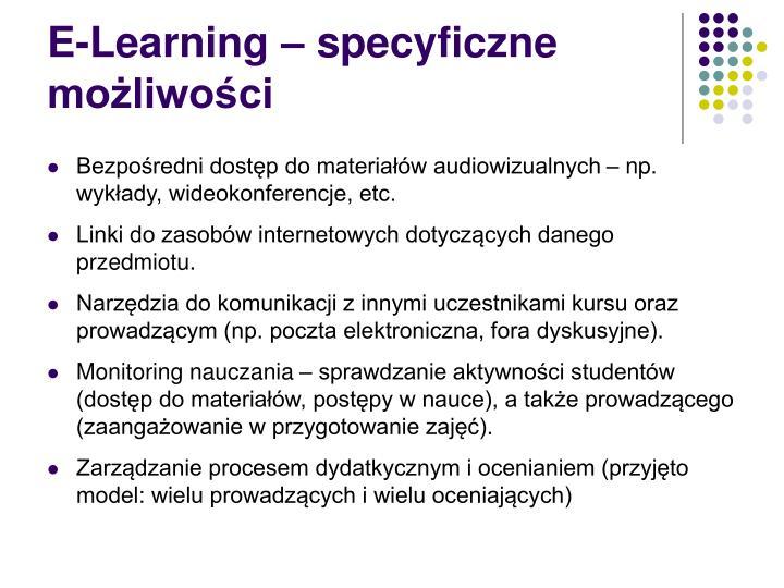 E-Learning – specyficzne możliwości