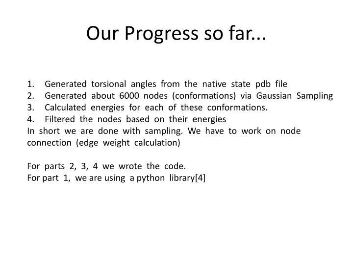Our Progress so far...