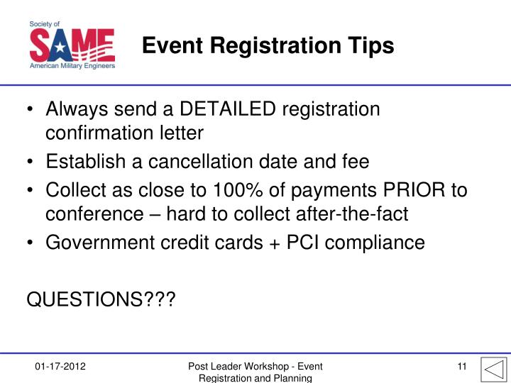 Event Registration Tips