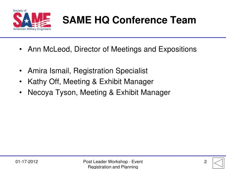SAME HQ Conference Team