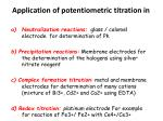 application of potentiometric titration in
