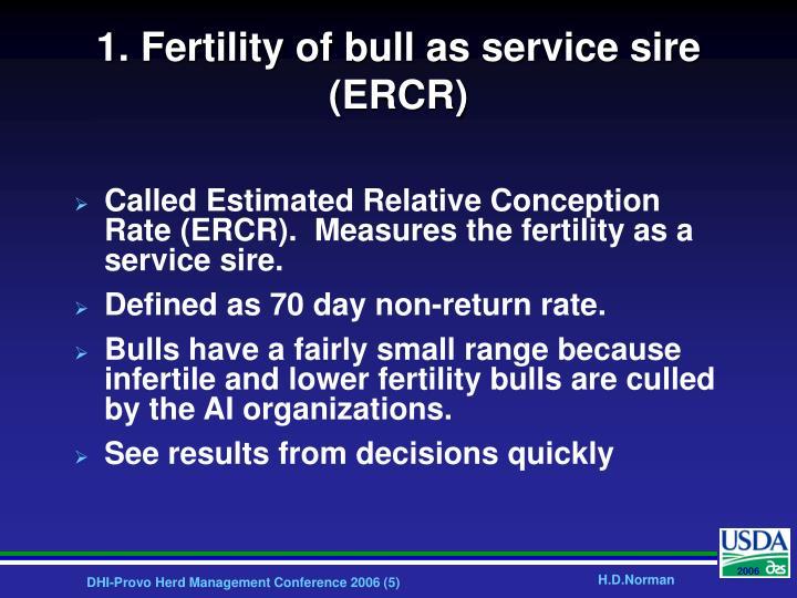 1. Fertility of bull as service sire (ERCR)