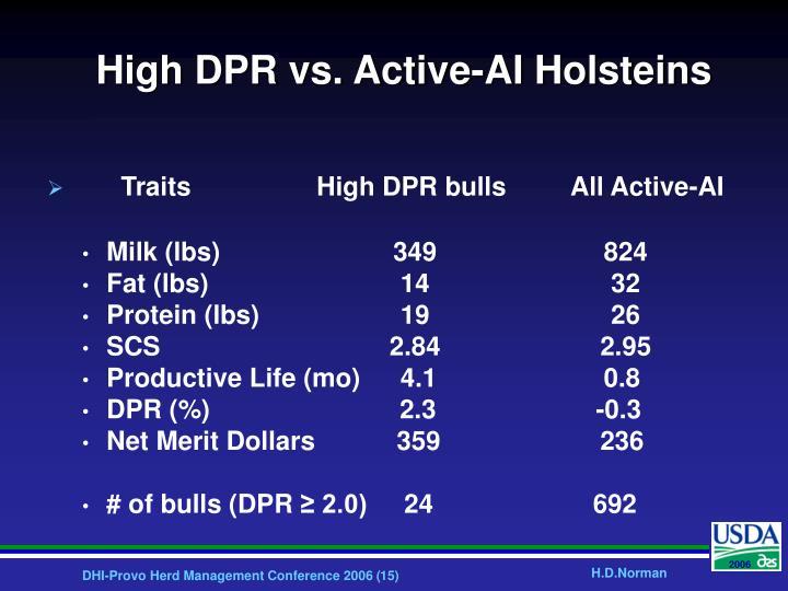 High DPR vs. Active-AI Holsteins