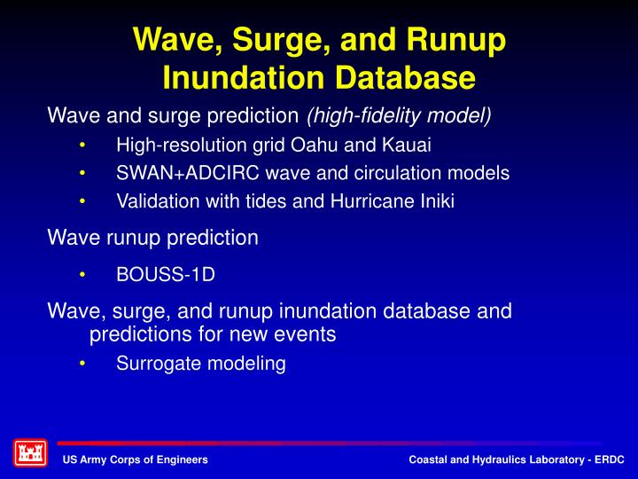 Wave, Surge, and Runup Inundation Database