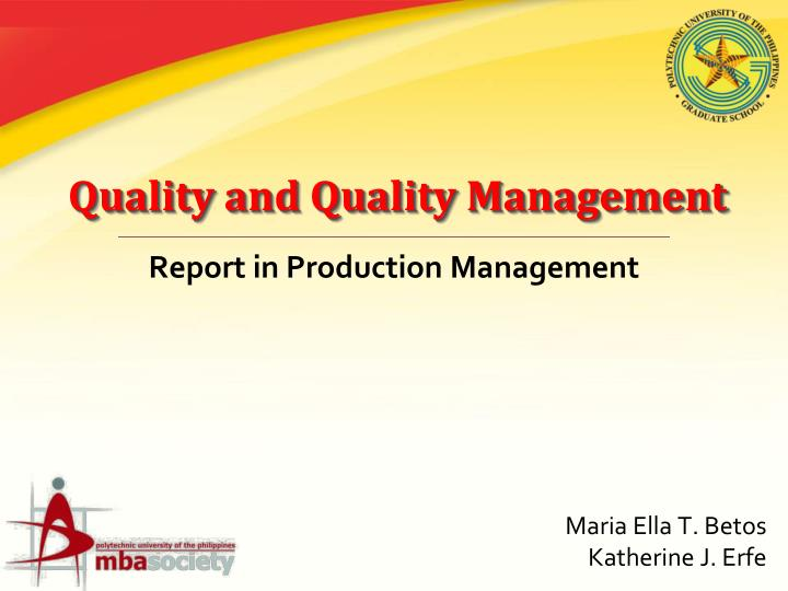 quality and quality management n.