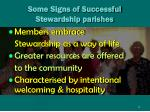 some signs of successful stewardship parishes