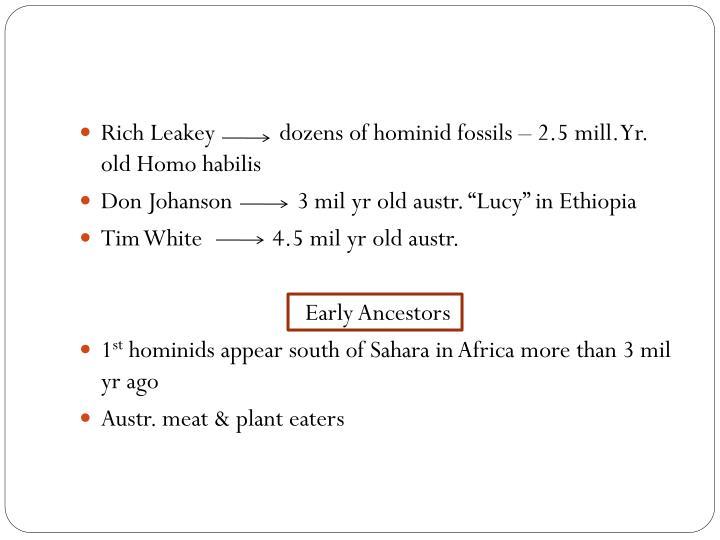 Rich Leakey           dozens of hominid fossils – 2.5 mill. Yr. old Homo