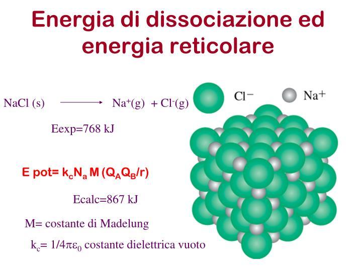Energia di dissociazione ed energia reticolare