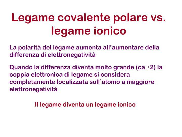 Legame covalente polare vs legame ionico