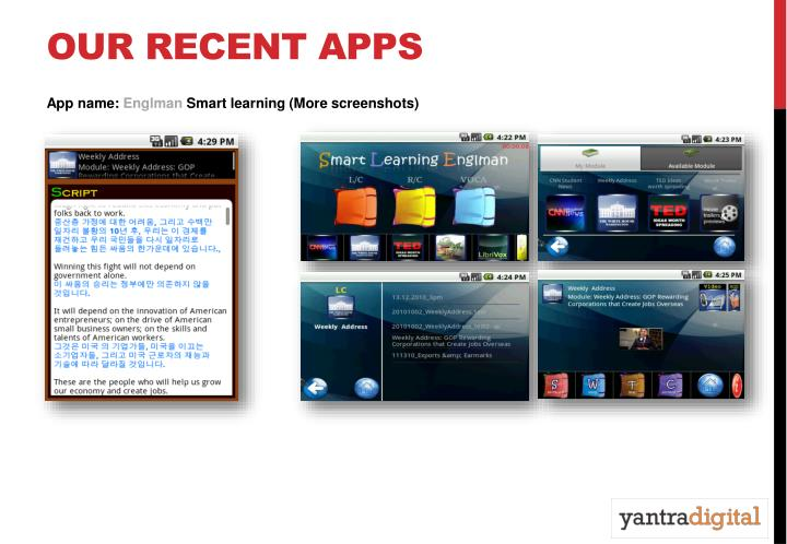 OUR RECENT APPS