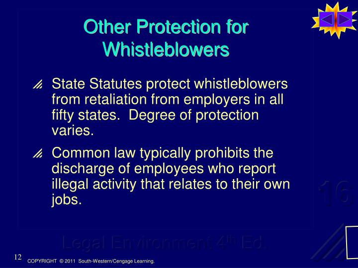 discharge for whistleblower activity Answer to case study 1-1 discharge for whistleblower activity should the federal appeals court deny broom and miller's appeal an.
