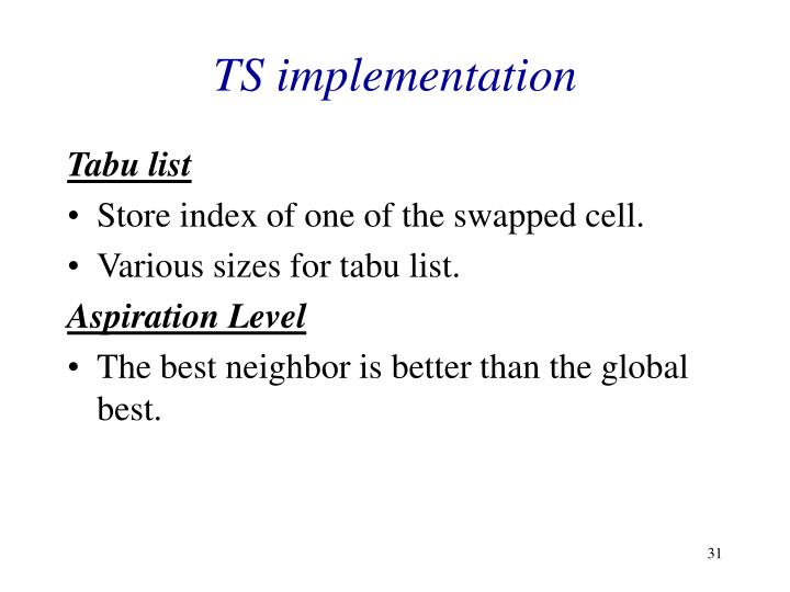 TS implementation