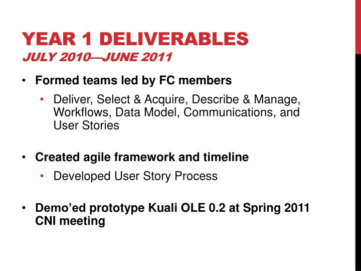 Year 1 deliverables