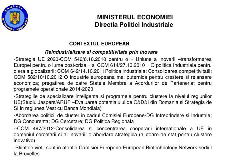 Ministerul economiei directia politici industriale