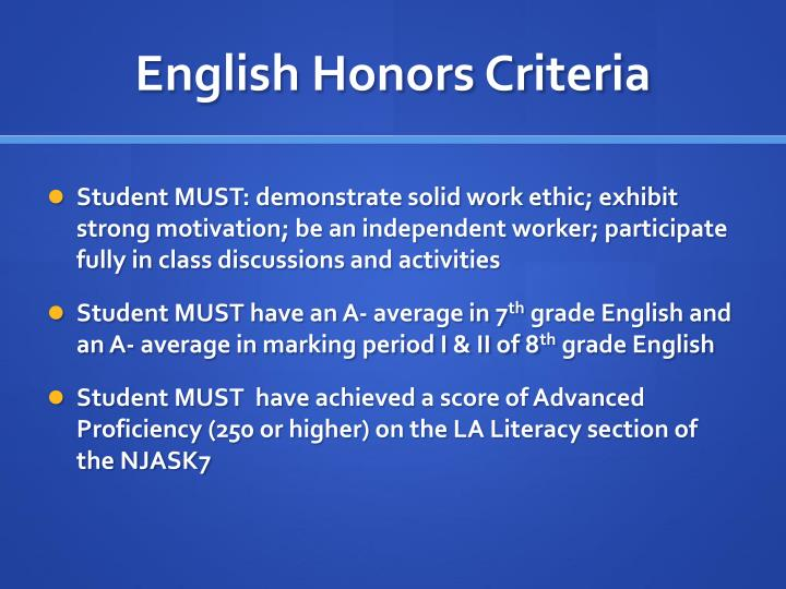 English Honors Criteria