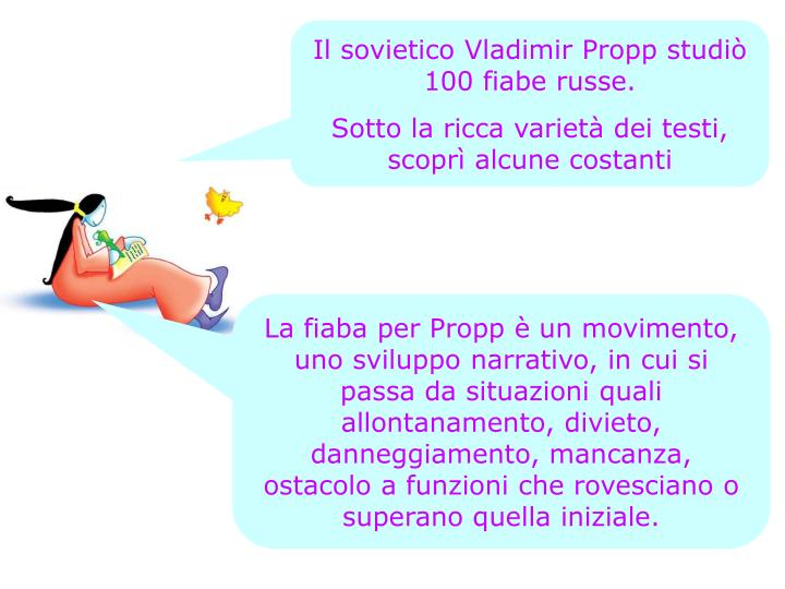Il sovietico Vladimir Propp studiò 100 fiabe russe.