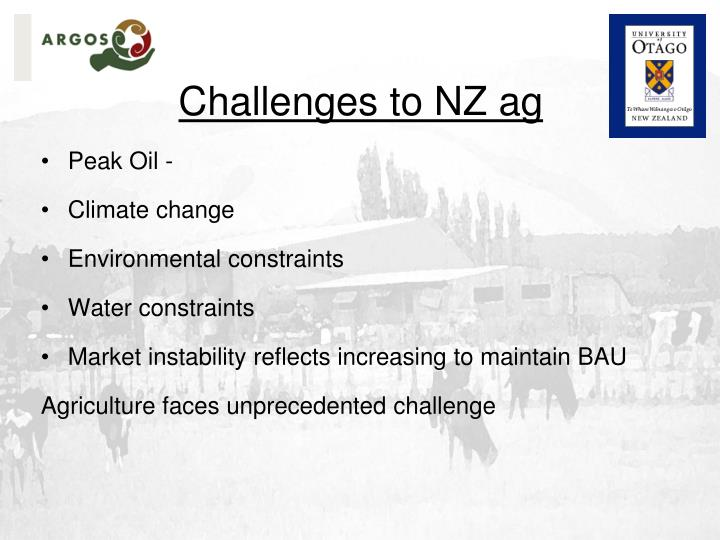 Challenges to nz ag