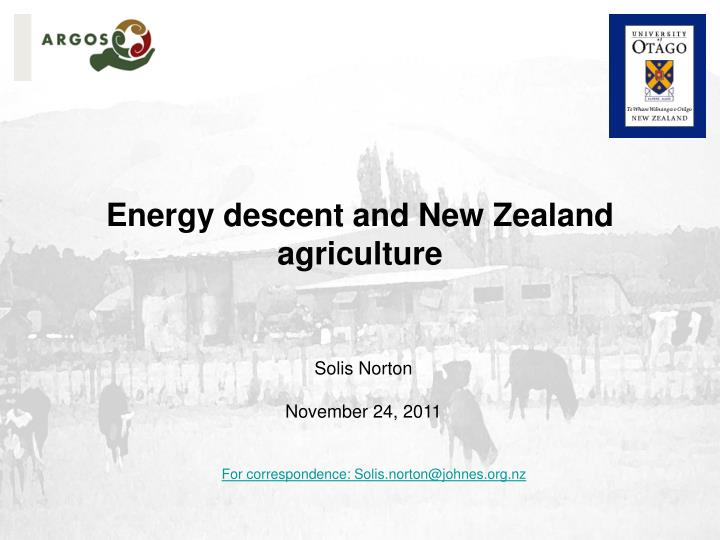 Energy descent and New Zealand agriculture