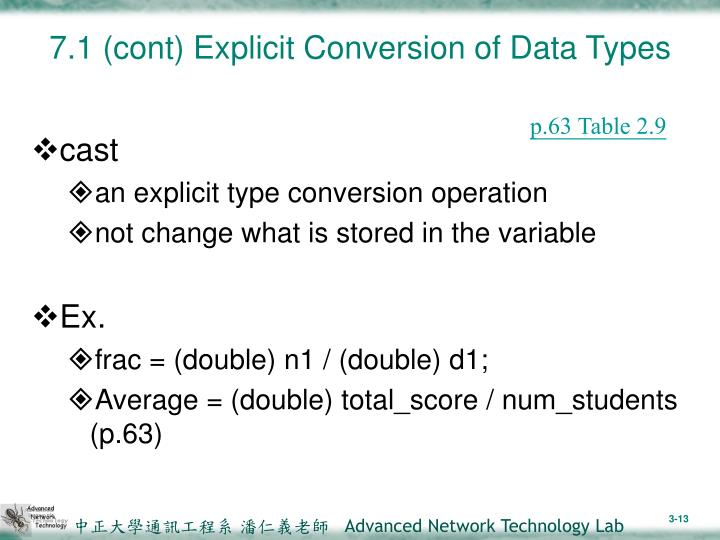 7.1 (cont) Explicit Conversion of Data Types