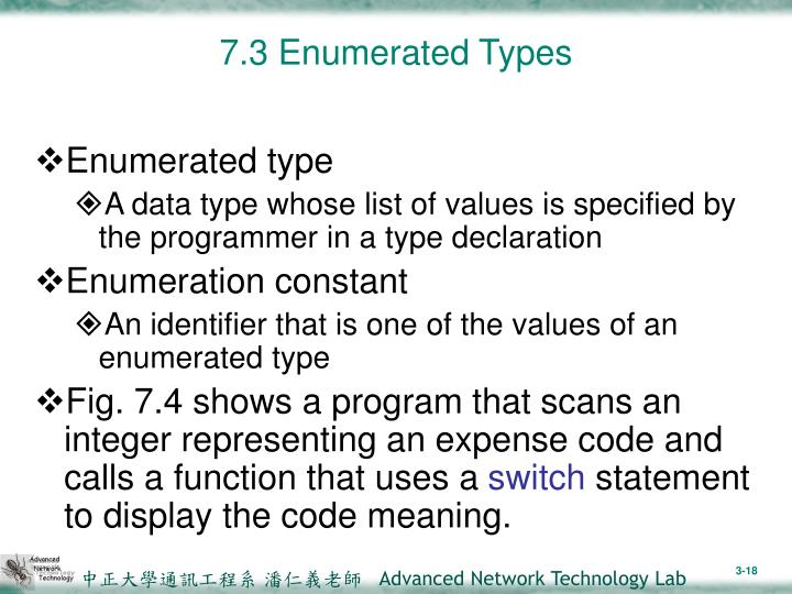 7.3 Enumerated Types