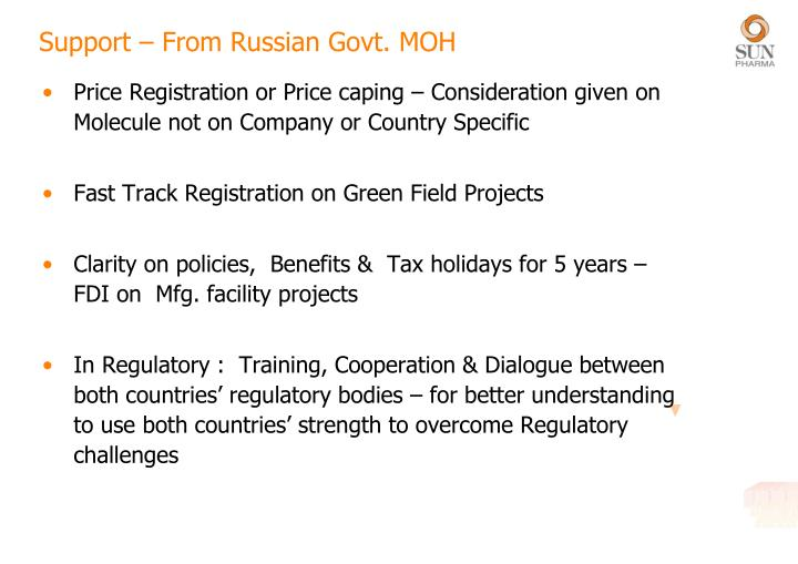 Support – From Russian Govt. MOH