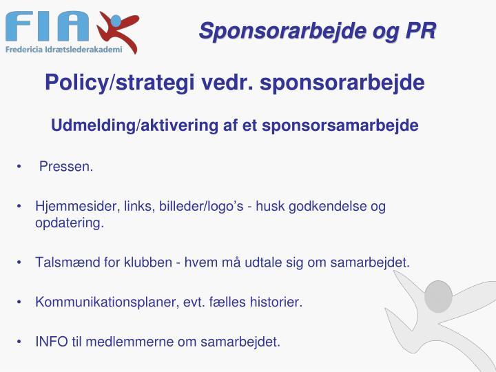 Policy/strategi vedr. sponsorarbejde