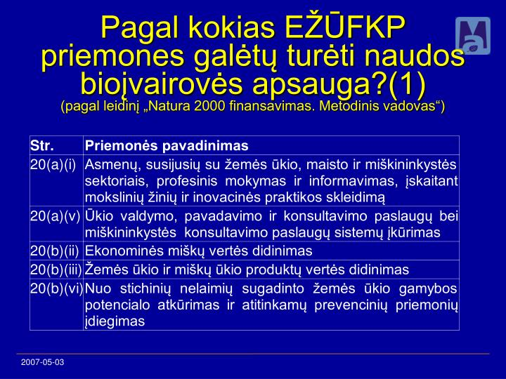 Pagal kokias EŽŪFKP priemones galėtų turėti naudos bioįvairovės apsauga?(1)