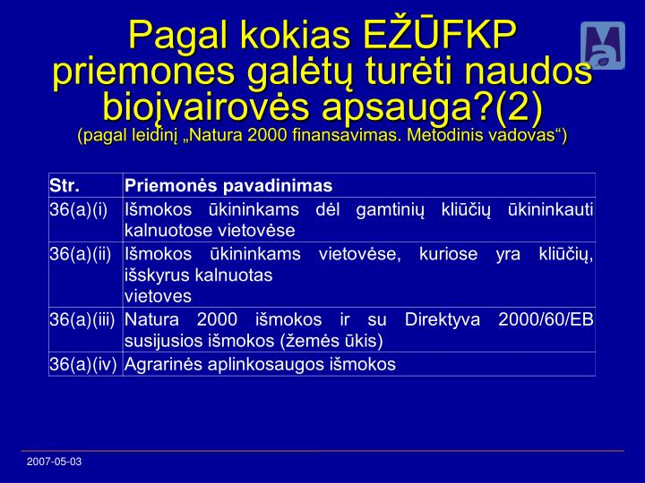 Pagal kokias EŽŪFKP priemones galėtų turėti naudos bioįvairovės apsauga?(2)