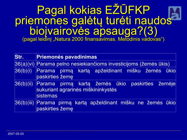 Pagal kokias EŽŪFKP priemones galėtų turėti naudos bioįvairovės apsauga?(3)