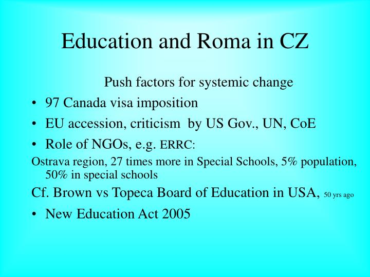Education and Roma in CZ