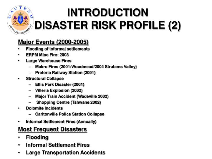 Introduction disaster risk profile 2