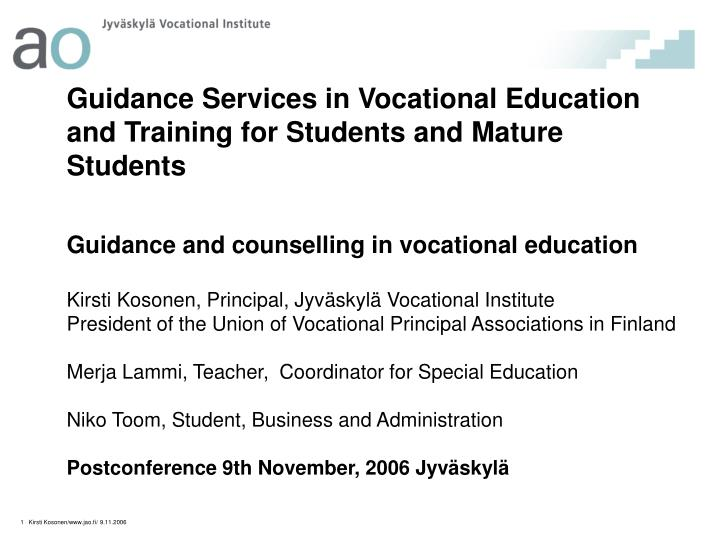 Guidance Services in Vocational Education and Training for Students and Mature Students