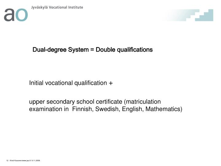 Dual-degree System = Double qualifications