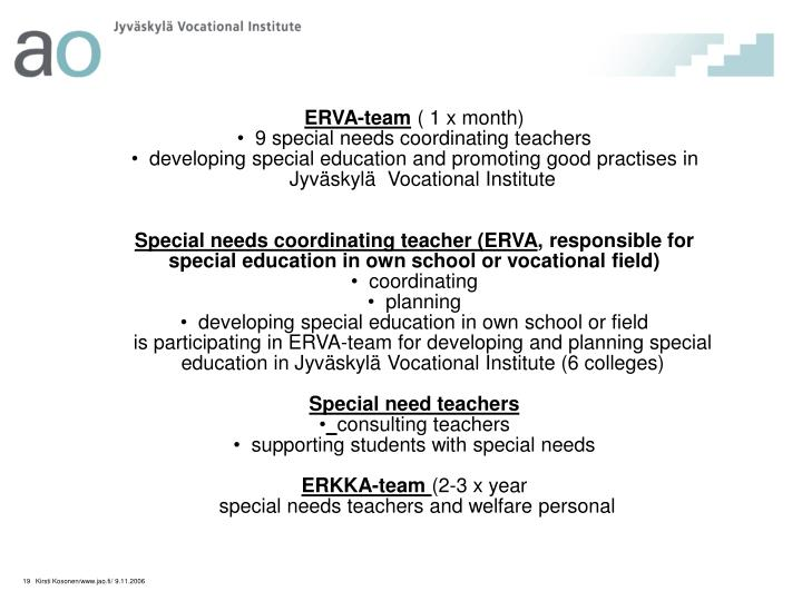 Special needs coordinating teachers 2005 - 2006