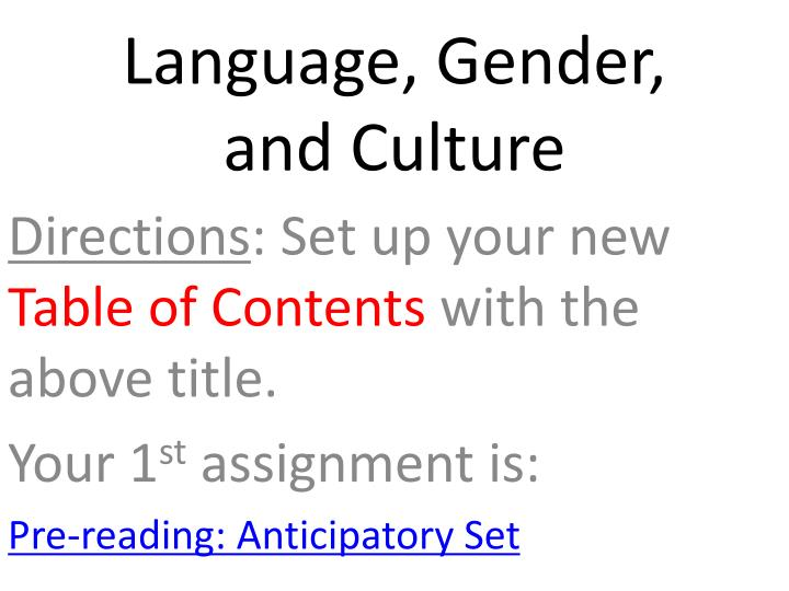 language gender and culture n.