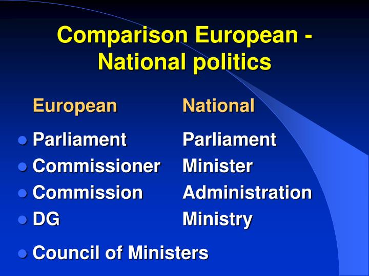 Comparison European - National politics