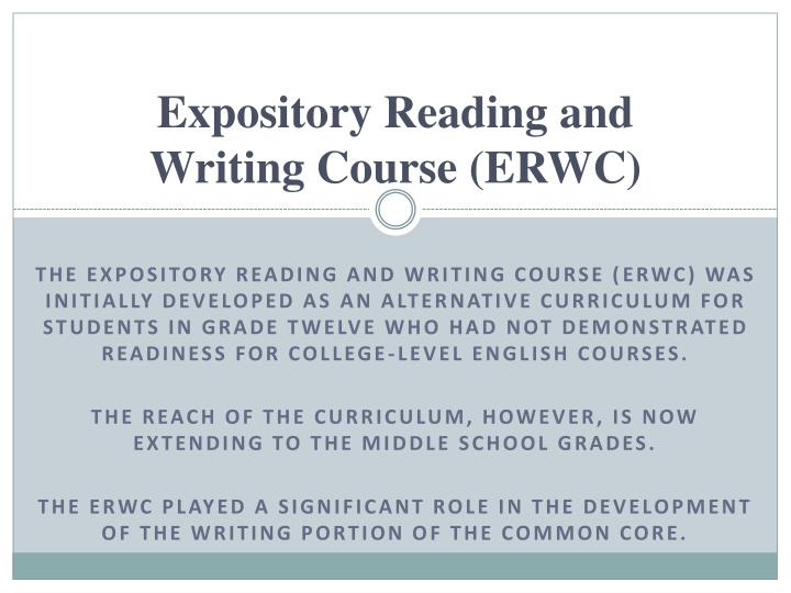 expository reading and writing Critical reading skills in fiction, poetry, and drama the focus of this course will be on expository and persuasive texts and the analytical reading skills that are necessary for college success students.