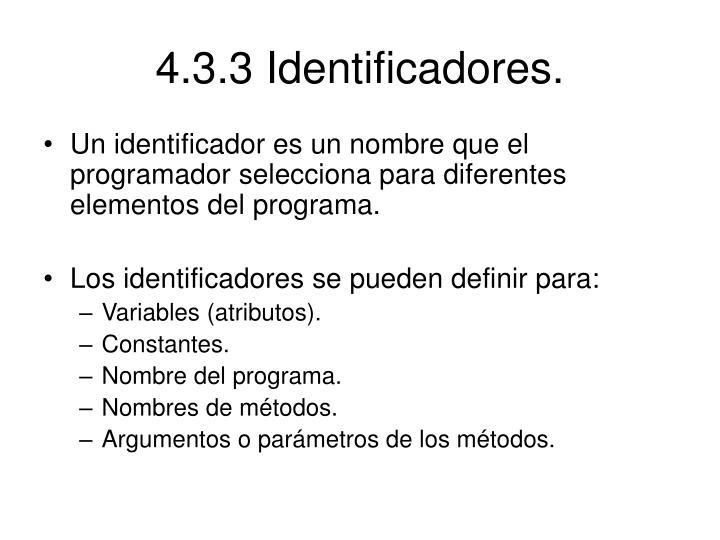 4.3.3 Identificadores.