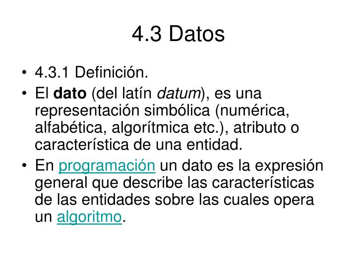 4.3 Datos