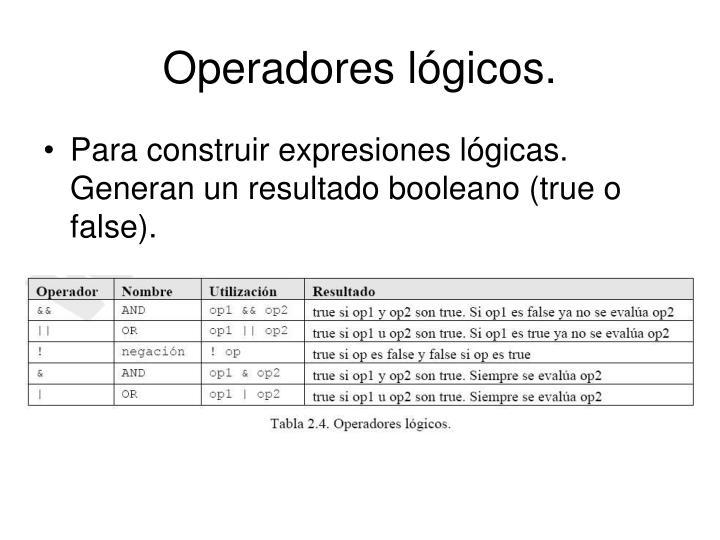 Operadores lógicos.
