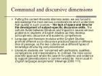 communal and discursive dimensions