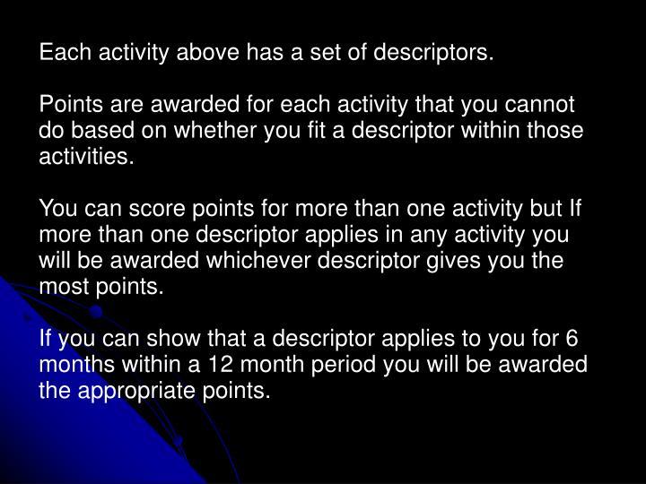 Each activity above has a set of descriptors.